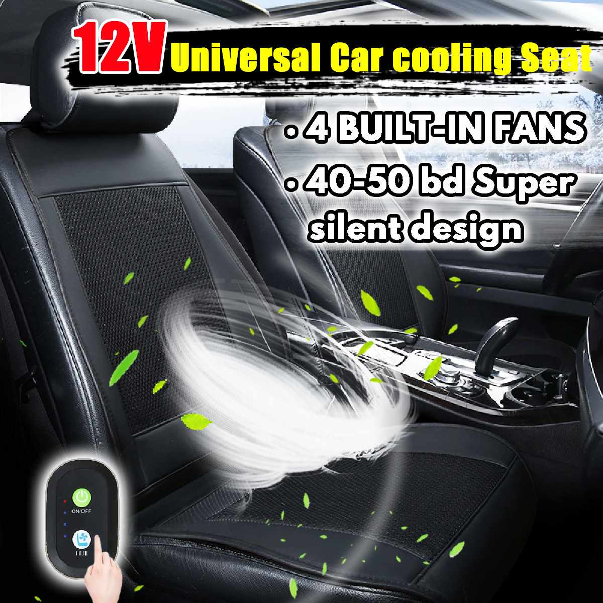 12V Cooling Car Seat Cushion Cover Air Ventilated Fan Conditioned Cooler Pad 4 Built-in Fan 3 Speeds Seat Cushion Covers