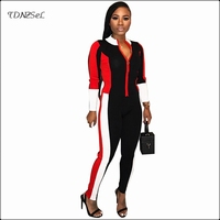 Autumn Winter Women Casual Long Sleeve Jumpsuit Pencil Pant Sport Fitness Front Zipper Slim Rompers Patchwork Streetwear Overall