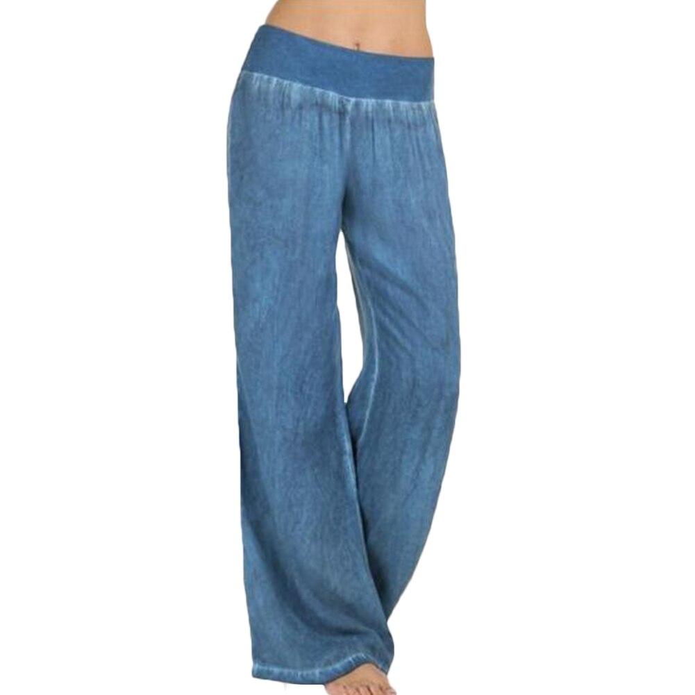 Women's Casual Loose Denim Sports   Wide     Leg     Pants   Solid Plus Size Elastic Waist Straight Long Jeans Trousers Pantalon Femme