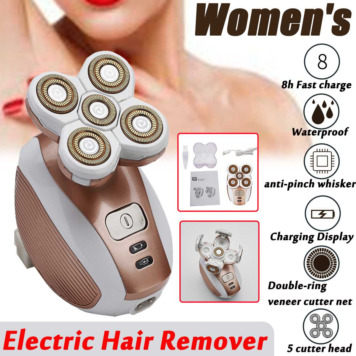 110-240V Washable Womens Facial Electric Hair Remover Waterproof Female Leg Body Face Private Parts Shaving Apparatus Trimmer110-240V Washable Womens Facial Electric Hair Remover Waterproof Female Leg Body Face Private Parts Shaving Apparatus Trimmer