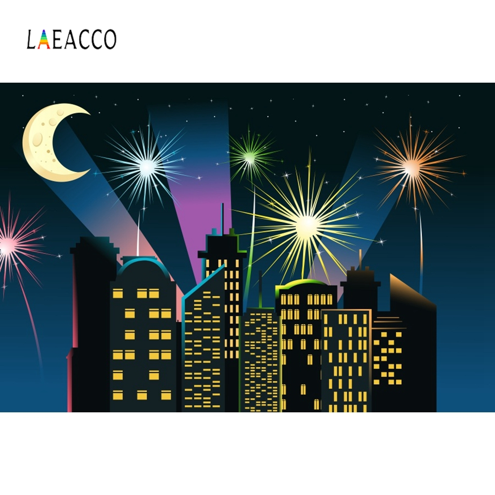 Laeacco Cartoon Buildings Night Fireworks Backdrop Photography Backgrounds Customized Photographic Backdrops For Photo Studio in Background from Consumer Electronics