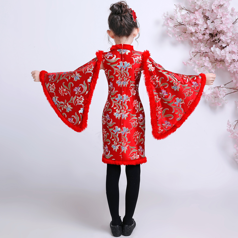 Robe chinoise pour enfants robes filles Cheongsam enfant rouge nouvel an Costume Satin Qipao hiver Tang Costume épaississement Plus velours - 3