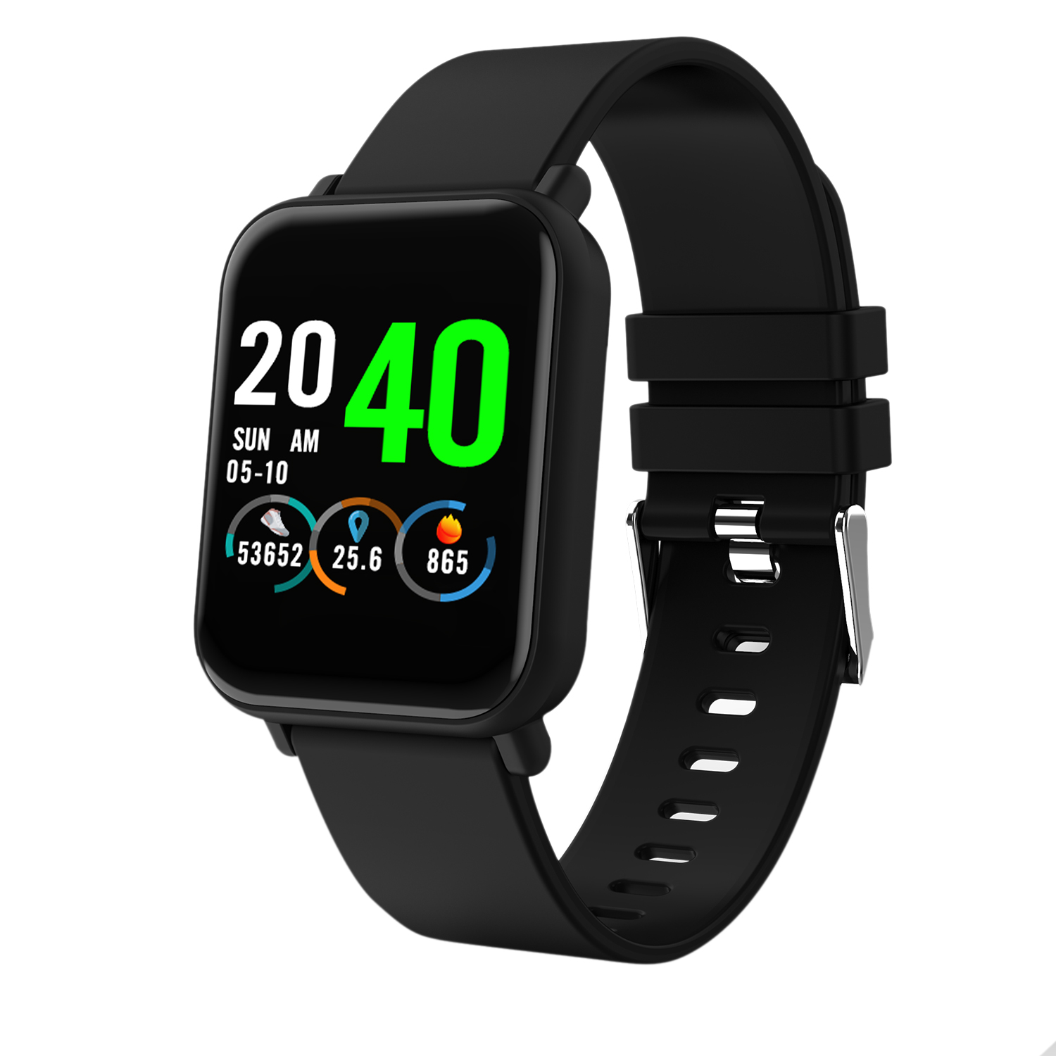 R6 Smart Watch 1.3 inch Full Color Screen 24h HR Blood Pressure Oxygen Monitor Message Call Show IP67 Waterproof Smart Watch image