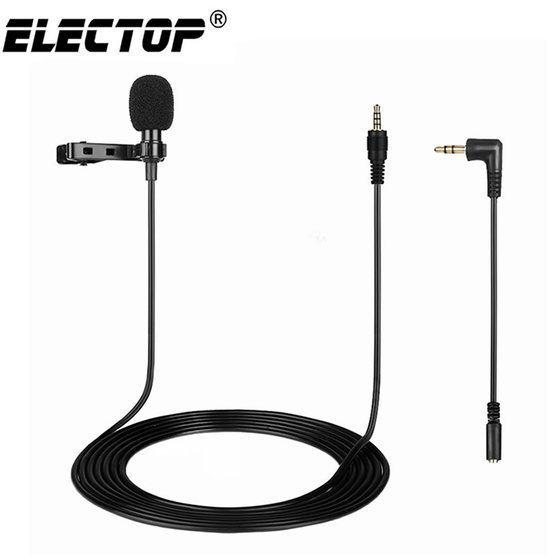 Mini Clip-on Lavalier Microphone Tie Condenser Mic 3.5mm Plug/&Play Connect Phone