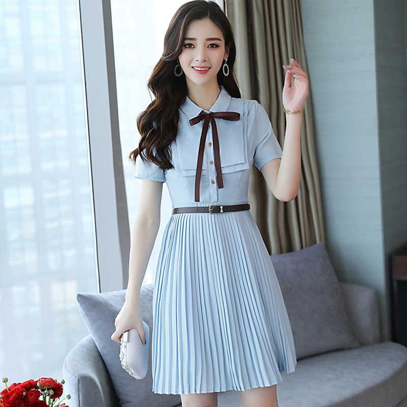 7712976a86ecb ... 2019 Summer Women Dress Fashion Short Sleeve Bow T-shirt Tunic Dress  Elegant Office Ladies ...