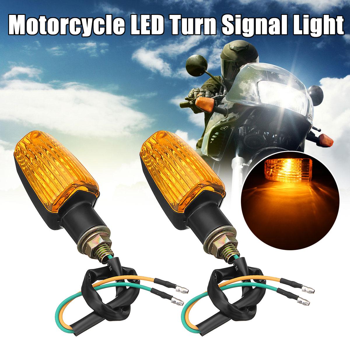 2PCS For Honda For Suzuki For Yamaha For Kawasaki Universal Motorcycle Plastic Turn Signal Indicator Light DC 12V Amber Lens