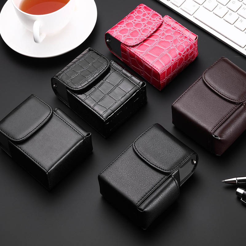 Cigarette Box Lighter Holder Tobacco Pouch PU Leather Nice Gift Smoker Smoke Tools Cigar Case Men Supplies