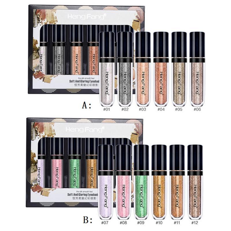6 Colors/Set Eyeshadow Set Metal Liquid Eyeshadow Waterproof Diamond Glitter Makeup Soft Charm Colorful Pearl Eyeliner