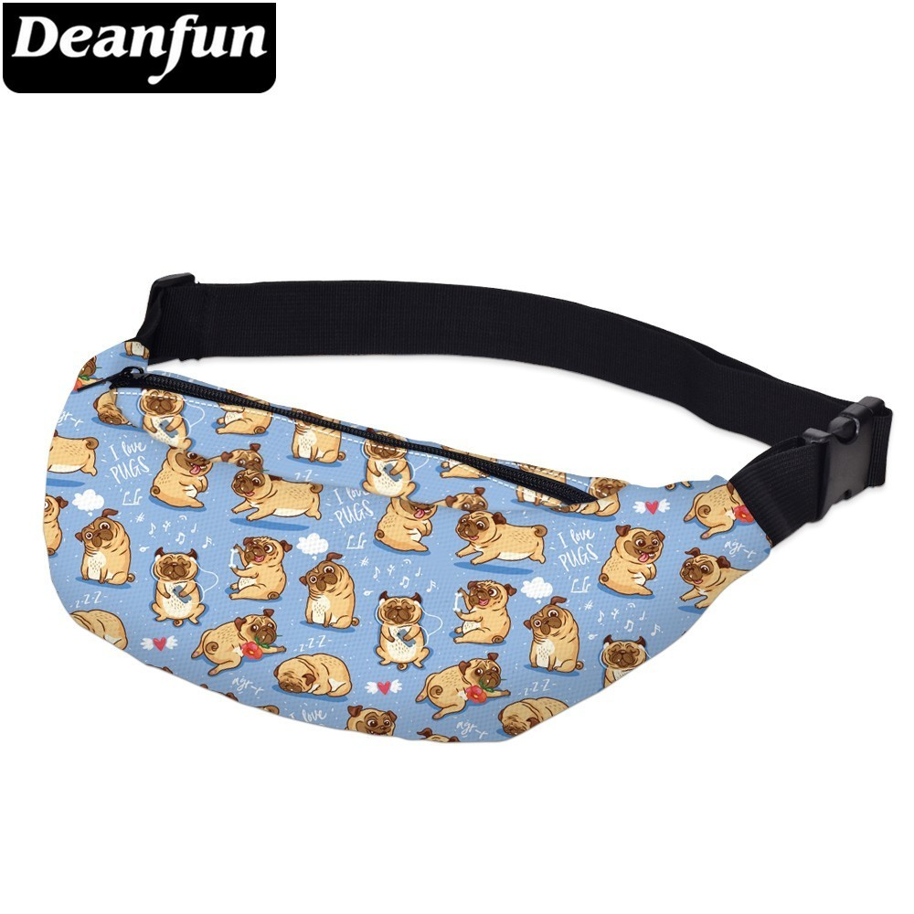 Deanfun Printing Pug Man Fanny Packs Waterproof Heart Waist Pack Man Shoulder Bag Gift For Phone  YB-59