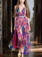 См. orange T Show 2018 летнее платье женское бохо платье Красочные шифоновое богемное платье сексуальные спагетти ремень платье Vestidos SO1134