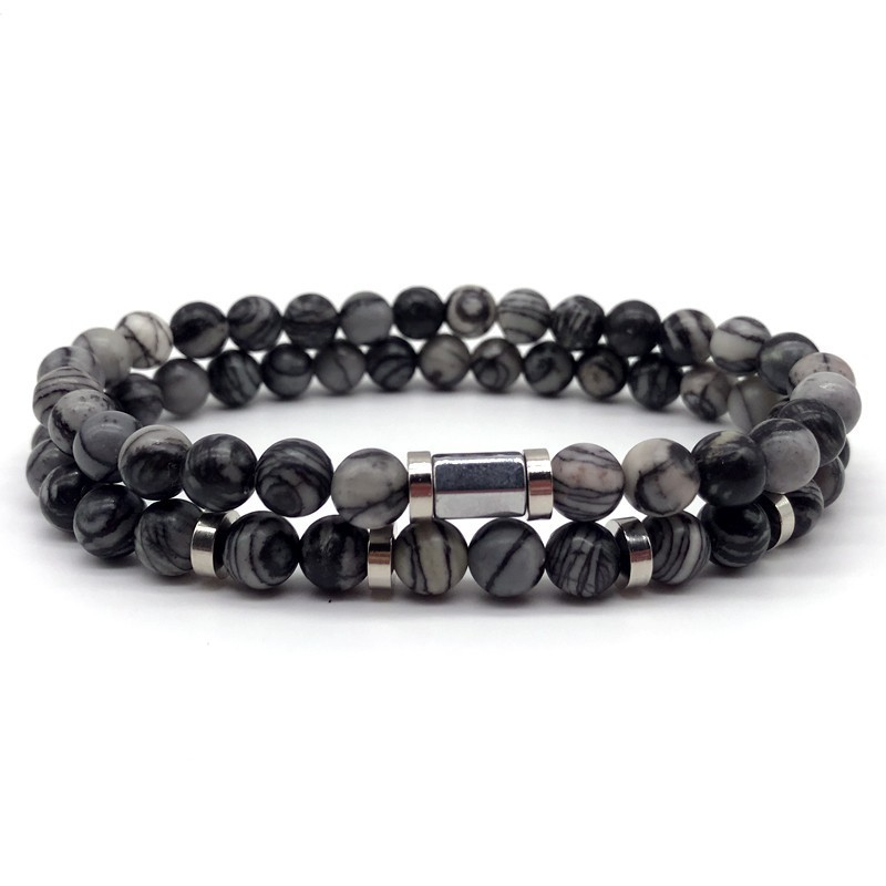 2 Pcs/set Bracelet For Men And Women Fashion Hot Luxury Couple Bracelets 8mm Natural Stone Bead 2019 Love Jewelary Gifts