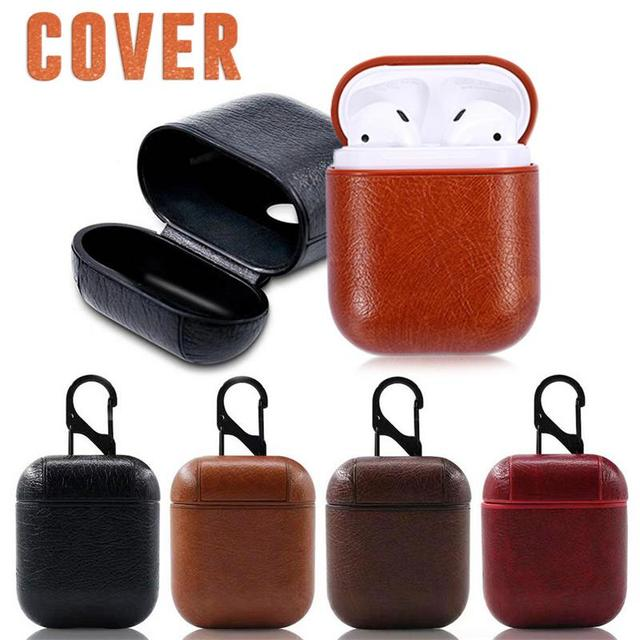 For Airpods Case Wireless Bluetooth Headset Charge Box Leather Headset With Hook Leather Headphone Case