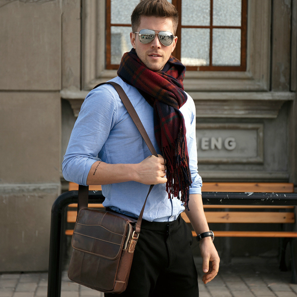 New Shoulder Bag Retro Casual Mens First Layer Cow Leather Flip Messenger Bag Leather Mens BagNew Shoulder Bag Retro Casual Mens First Layer Cow Leather Flip Messenger Bag Leather Mens Bag