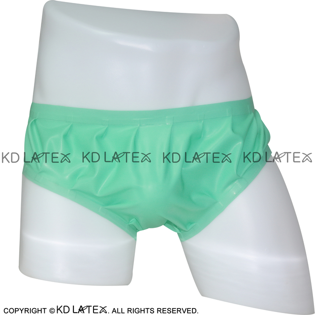 Jade green Sexy Latex Panties Loosely Smocking Rubber Shorts Underpants Underwear Pants Plus Size DK-0001