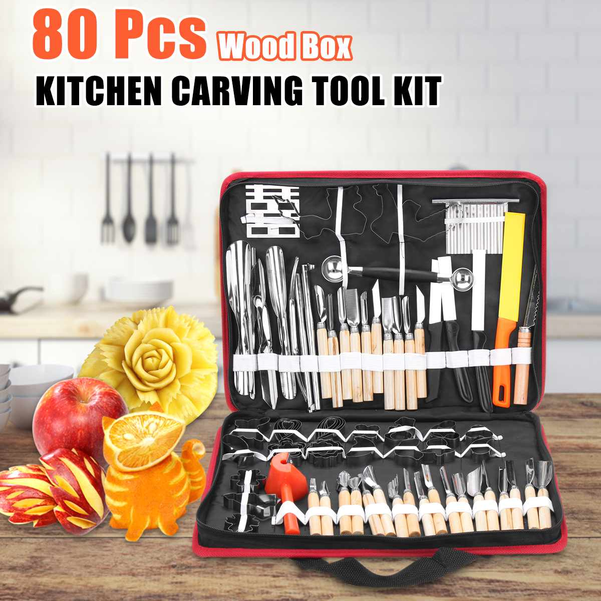80Pcs Portable Sculpture Carving Tool with Portable Storage Bag Vegetable Food Fruit Carving Knife Set Cooking Decorating Tools80Pcs Portable Sculpture Carving Tool with Portable Storage Bag Vegetable Food Fruit Carving Knife Set Cooking Decorating Tools