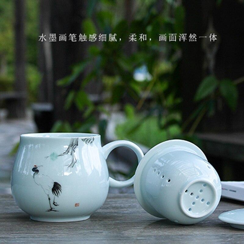 Thé céramique verre apporter couvercle filtre originalité Marc tasse Jindezhen bureau boisson thé Longquan céladon - 4