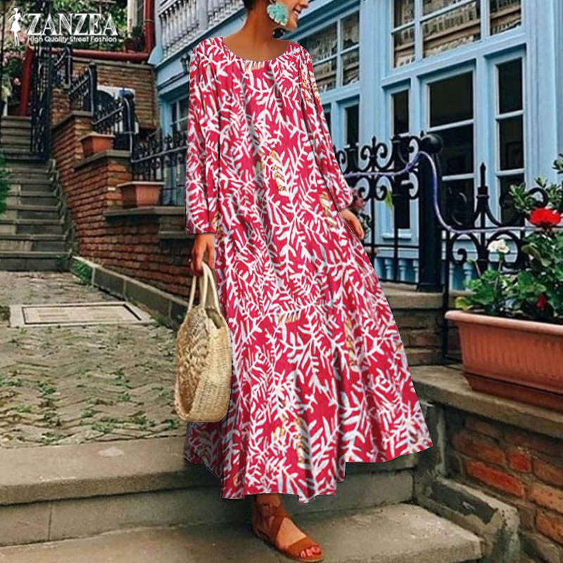 Plus Size 5XL Bohemian Maxi Dress 2019 ZANZEA Women's Sundress Female Long Sleeve Summer Party Vestidos Stylish Print Robe Femme