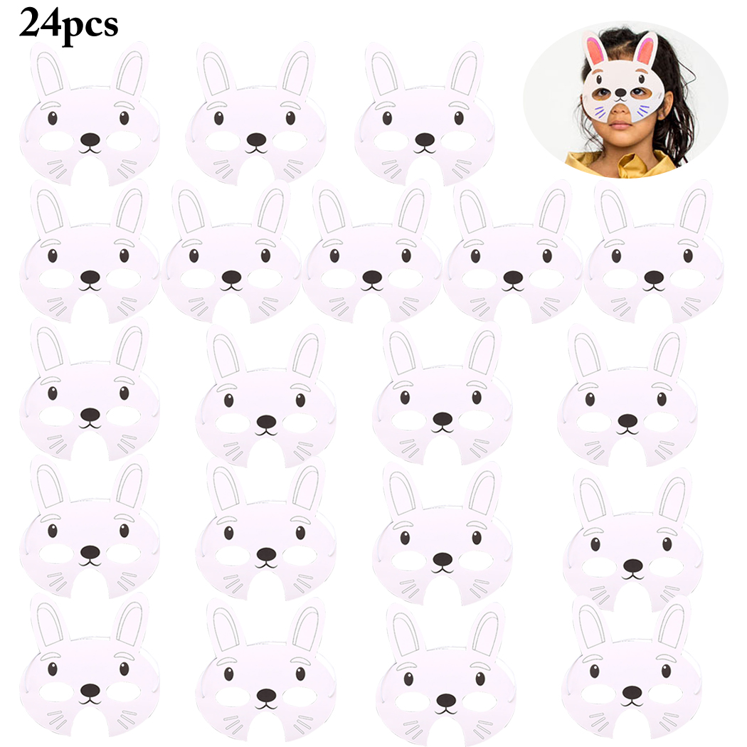 24PCS Kids Animal Masks DIY Blank Rabbit Paper Masks Party Masks For Easter