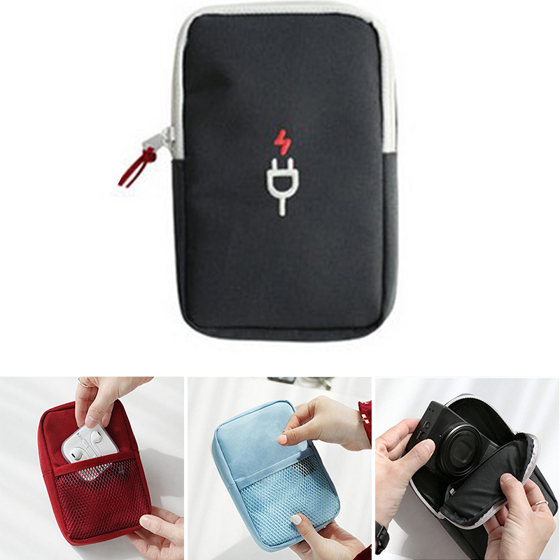 Black Red Blue Mini Earphone Data Cable USB Travel Portable font b Case b font Organizer