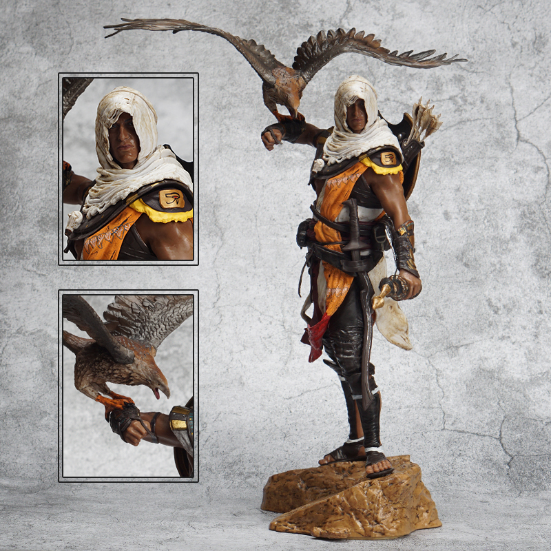 2019 New Movie Figurine Assassinator Stabber Creed Origines Bayek Protecteur With His Eagle Action Figure Model Toy Gift 28cm