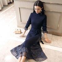 Fashion Women Midi Sweater Dress 2018 Slim Long Dress OL Long Sleeve Half High Collar Floral Print Chiffon Splice Knit Dress New