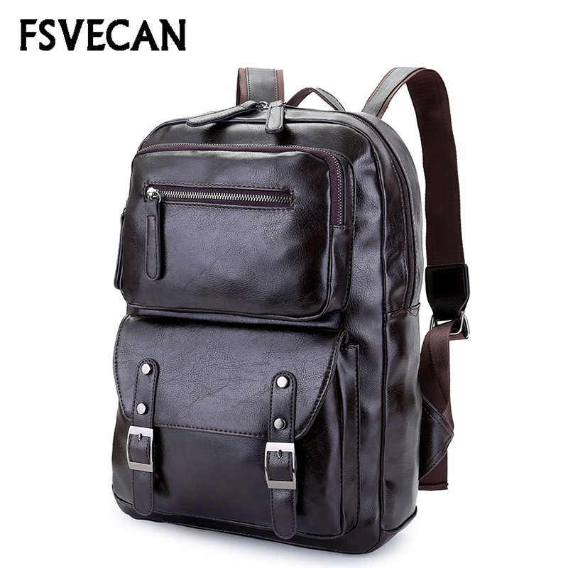 Fashion Backpack Men High Quality Pu Leather Waterproof Laptop Travel Backpack College School Casual Bag For Teenagers 2018 new modern washroom toothbrush holder luxury european style tumbler