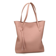 Direct Handbags 2018 Korean-Style Fashion Shoulder Bag Embossed Leather Charge Tassel Tote Cross-Border