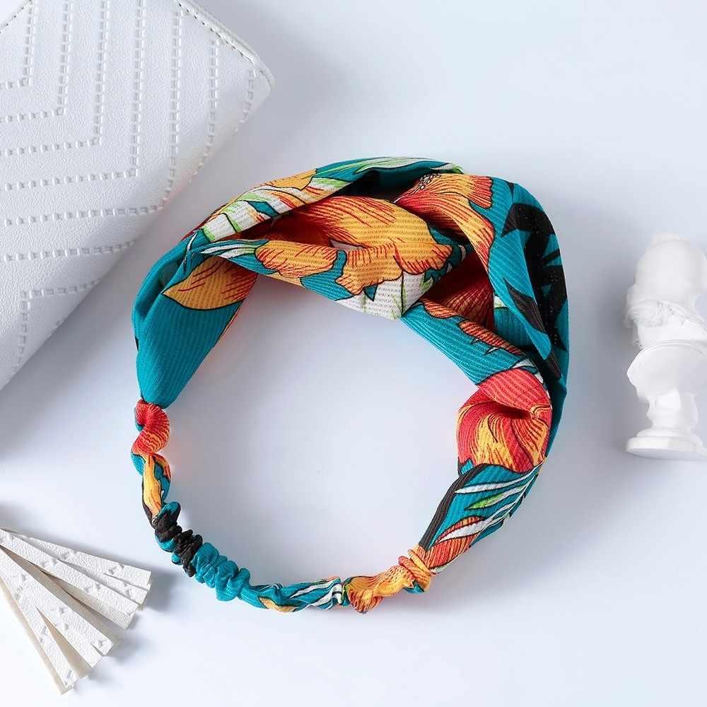 Meyfflin 2019 Cute Stripe Elastic Headbands for Women Girls Fabric Floral Print Hairband Bandanas Hair Band Headwear Accessories
