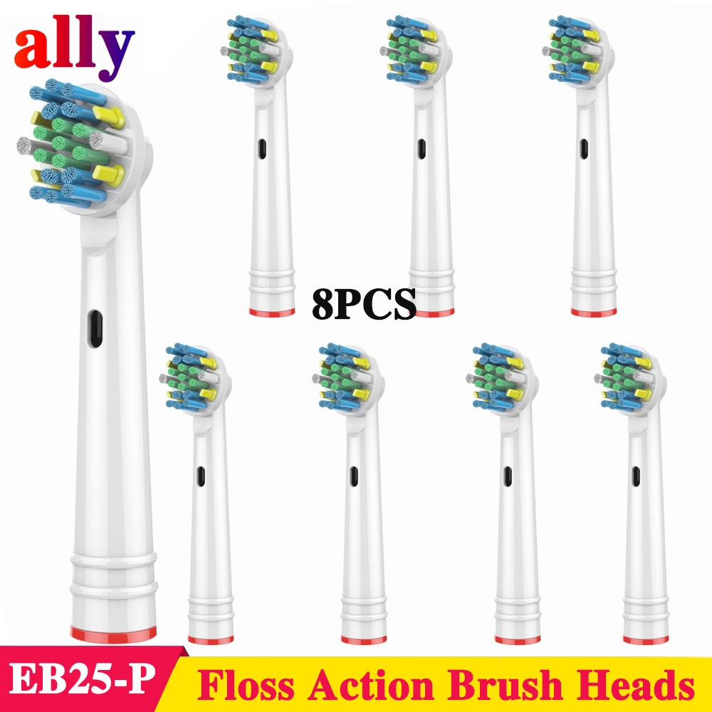 8X EB25 Floss Action Electric toothbrush heads Replacement For Oral B Vitality Triumph P4000 P4500 P2000 Electric toothbrush image