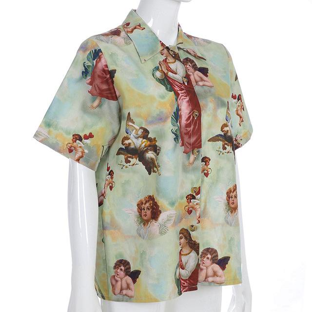 Retro Wind Angel Print Loose Thin Streetwear Summer Tops