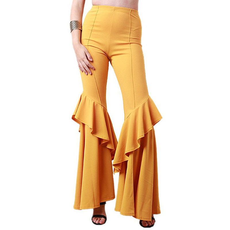 Elegant Women Ol High Waist   Wide     Leg     Pants   Trousers Bottoms Ruffle Bell Flared   Pants   Sexy Solid Wrinkled Trousers Ladi