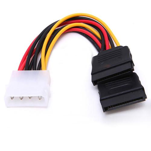 1pc 4 Pin IDE Molex To 15 Pin 2 Serial SATA Hard Drive Power Adapter Cable