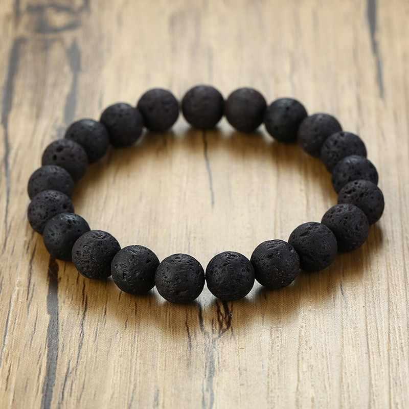 Vnox vintage natural pedra grânulo pulseiras para mulher homem estiramento strand pulseira unisex pulseira jóias