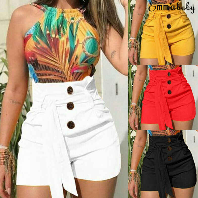2019 Nieuwste Hot Summer Vrouwen Dames Hoge Taille Casual Solid Strand Hot Button Shorts Maat 6-14
