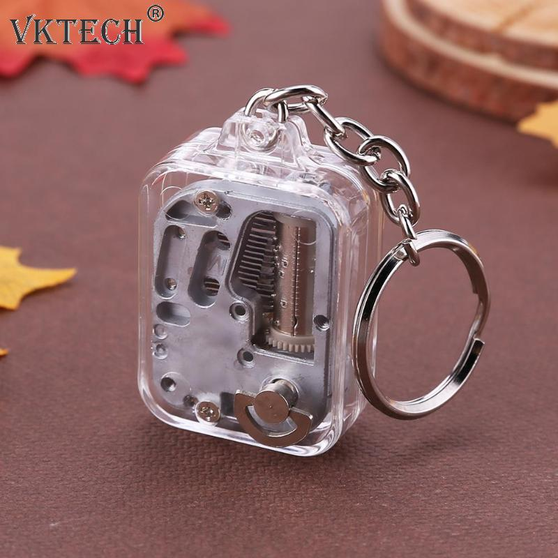 DIY Music Box Movement Keychain Handy Crank Musical Case Mechanical Music Boxes Keychain Children Birthday Gifts Toys