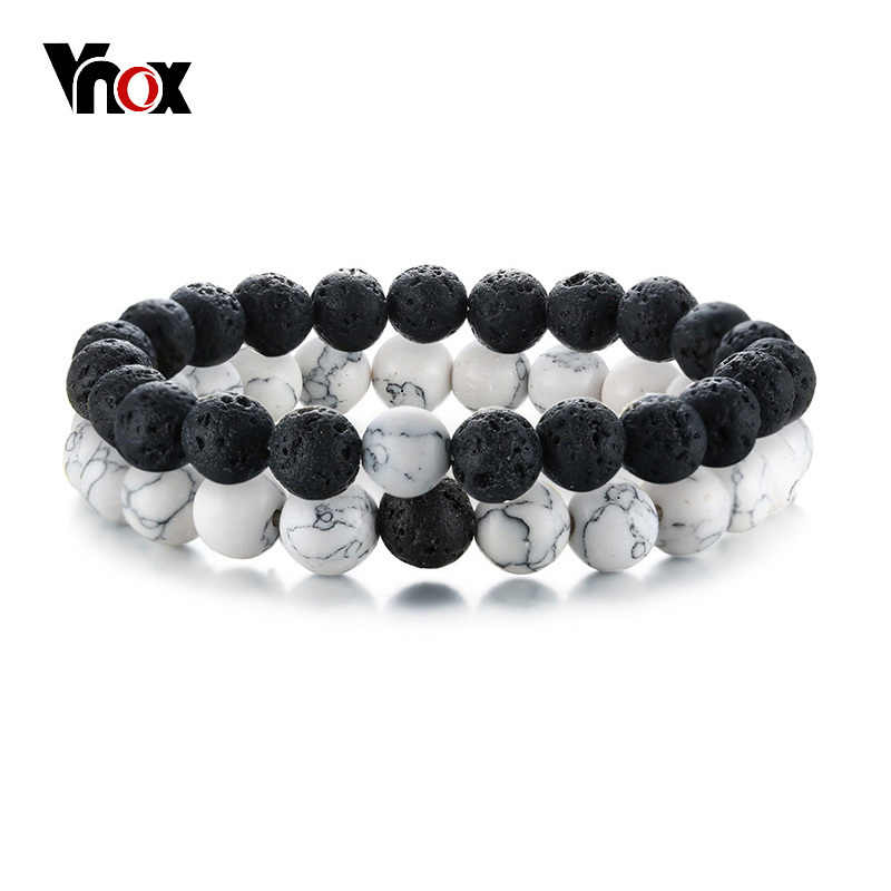 Vnox 2 Pcs/Set Couples Distance Bracelets for Women Man Natural Stone White and Black Yin Yang Beads Best Friends Bracelet Gifts