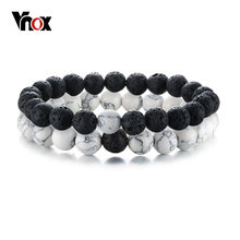Vnox 2 Pcs/Set Couples Distance Bracelets for Women Man Natural Stone White and Black Yin Yang Beads Best Friends Bracelet Gifts(China)