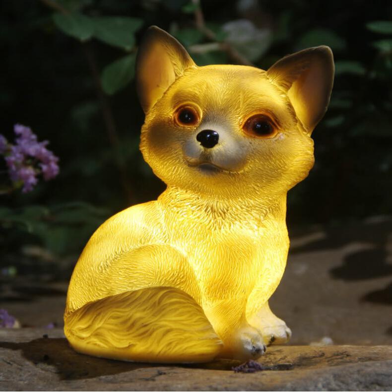 Lovely LED Dog Solar Power Lamp Waterproof Landscape Ornament Cartoon Animal Underground Light Garden Yard Decor Warm Light