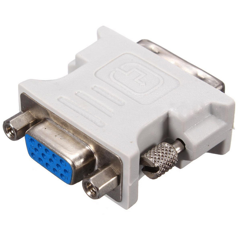 Newest DVI-D To VGA Adapters White DVI-D 18+1Pin Dual Link Male To VGA 15 Pin Female Plug Adapter For PC Laptop Mayitr