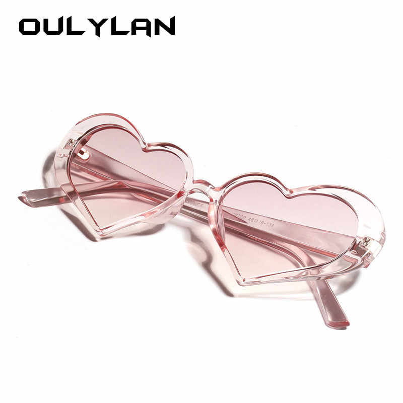 Oulylan Heart Sunglasses Women Fashion Clear Lens Design Sun Glasses Shades Girls Love Heart Shaped Sunglass Pink Eyewear