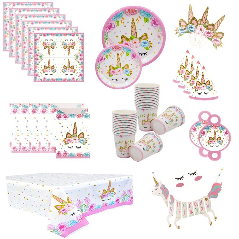 8 PCS Unicorn Party Decor  Disposable Tableware Unicorn Theme Paper Napkin /Plate / Hat /Table Cloth Kids For Birthday Supplies