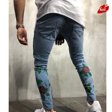 Fashion Skinny Ripped Jeans  Men Male Motorcycle Jeans Denim Pants Fashion Casual Brand Hole Print Slim Biker Jeans   O8R2 new famous brand vintage men designer casual hole ripped jeans mens fashion skinny denim pants slim fit male trou