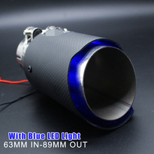Universal Matte Black Exhaust Tips Muffler Real Carbon Fiber Stainless Steel With Blue LED Light Inlet 63mm Outlet 89mm