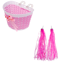 Perfeclan Bike Handlebar Sparkle Streamers Tassels+Front Basket Pouch Detachable Pink Bike Basket Front Bike Streamers zipper front backpack with tassels