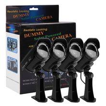 4 x солнечной энергии Поддельные открытый манекен камеры безопасности дома CCTV светодио дный