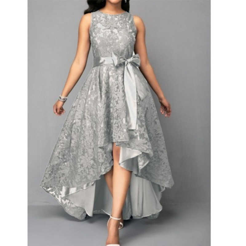 Wipalo de talla grande alto bajo Vintage sin mangas dobladillo con cinturón de encaje vestido de fiesta de mujer de cintura alta sólido Maxi vestido S-5XL Vestidos de mujer