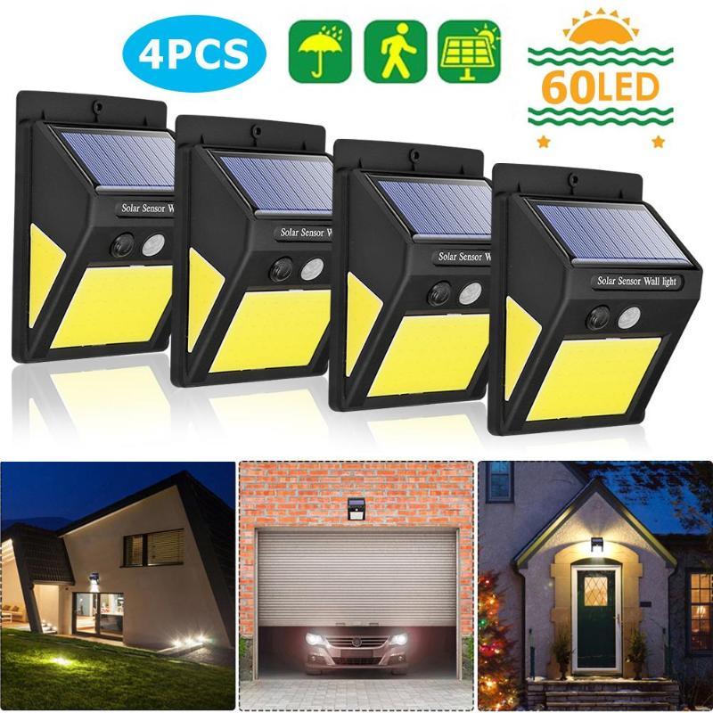 4pcs 60 LEDs COB Solar Panel Lamp Motion Sensor Wall Lights Outdoor Garden IP65 Waterproof Path Security Solar Lights Solar Lamps     - title=