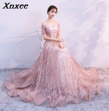Xnxee short Sleeve Mermaid Dresses Appliques Gold lace sweep train formal dress for Women