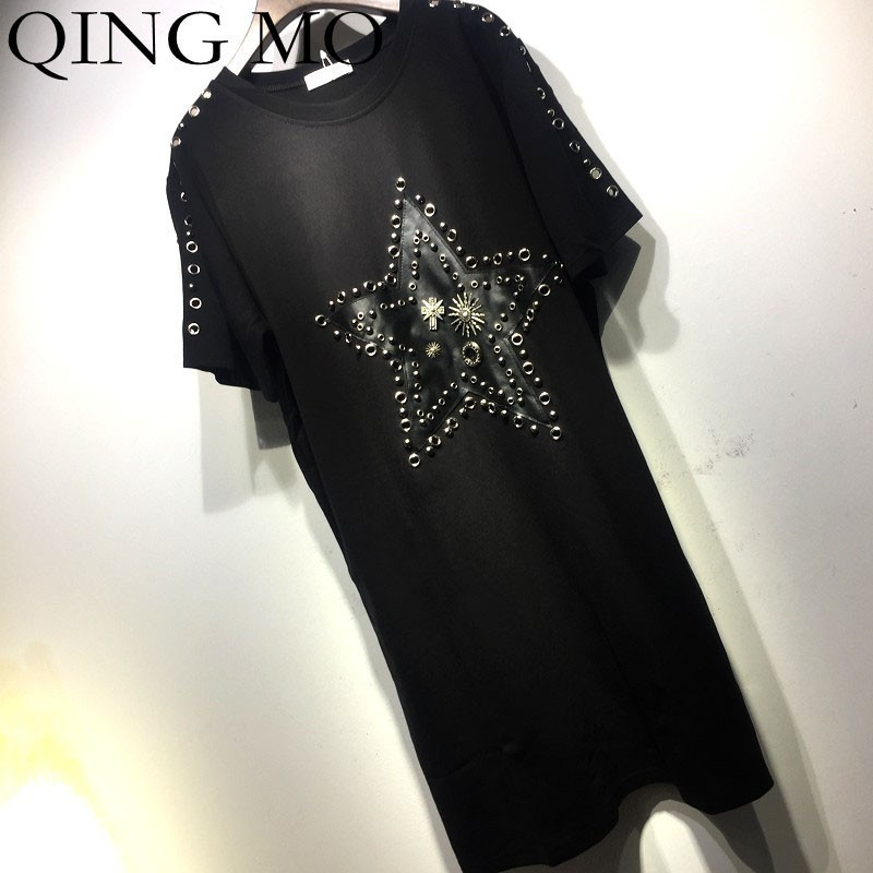 QING MO Star Patched Dress Women Rivets T Shirt Dress Black Short Sleeve Dress Summer Metal Rings T Shirt ZLDM036