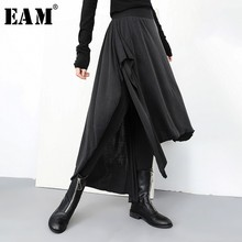 EAM 2019 New Spring Summer High Elastic Waist Loose Black False Two Irregular Stitch